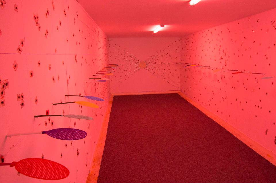 "Interior view of Rafet Jonuzi's installation ""Artist Swatter."" Image courtesy of MIZA Galeri."