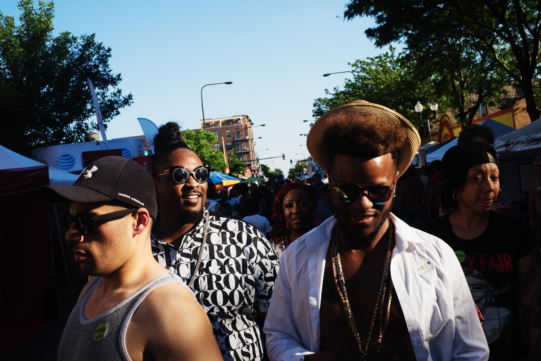 A group of revelers makes their way through the crowd.