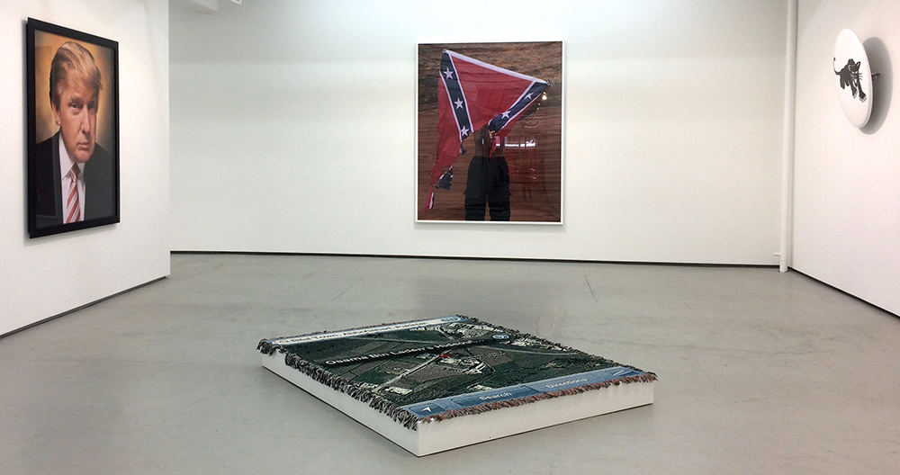 The placement of the pieces in the West 20th street gallery make evident the recurring struggle of civil rights in today's fraught political climate. Photograph by Sandra Giselle Lopez.