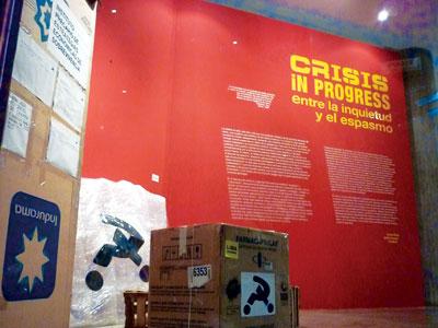 """Installation view of  """"Crisis in Progress: entre la inquietud y el espasmo"""" at the Galería ICPNA San Miguel curated by Dorota Biczel Nelson, Photograph courtesy of Nelson"""