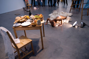 Nikhil Chopra, Yog Raj Chitrakar: Memory Drawing XI. Part of Production Site: the Artist's Studio Inside- Out, Museum of Contemporary Art, Chicago. February 9, 2010. Photography © Museum of Contemporary Art, Chicago. Photographer, Nathan Keay