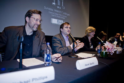 "Pictured L-R: Michael Phillips (""At The Movies"" co-host/Chicago Tribune), Hank Sartin (Time Out Chicago), Janet Davies (ABC 7), Chaz Ebert (Oscar Night America benefit honorary chair) and A.O. Scott (""At The Movies"" co-host/The New York Times) participated in an Oscar Nominee Panel at the Gene Siskel Film Center on Tuesday, Feb. 2, 2010.  Images courtesy of Carol Fox and Associates."