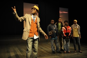 """(from left) Kenn E. Head, Samuel G. Roberson, Jr., Namir Smallwood, Leslie Ann Sheppard and Latricia Sealy performing during the Chicago premiere of """"The Lost Boys of Sudan."""" Photo by Liz Lauren."""