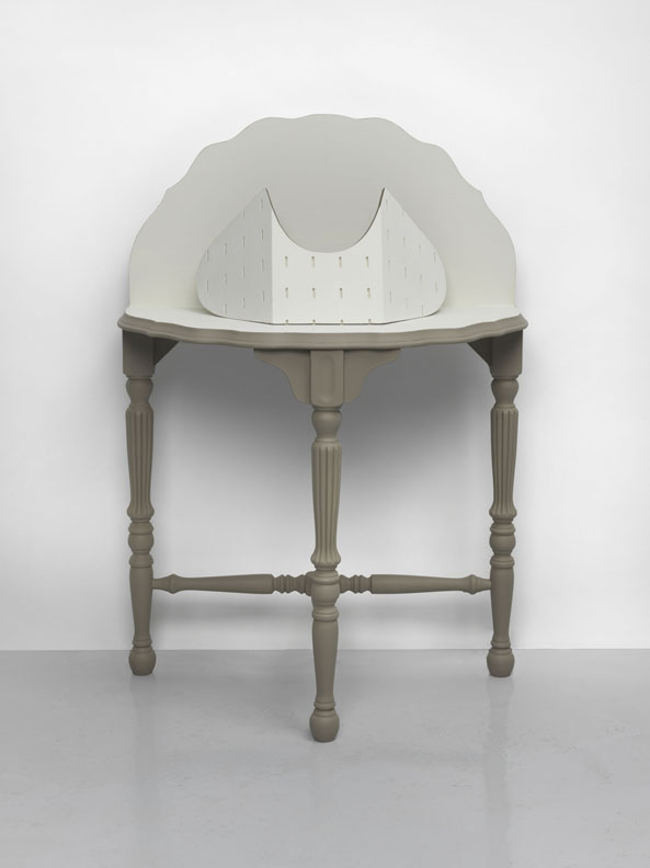 "Diane Simpson, ""Collar (on altered table),"" 2010.Wood table, MDF, and enamel, 34 x 25 x 12 inches."