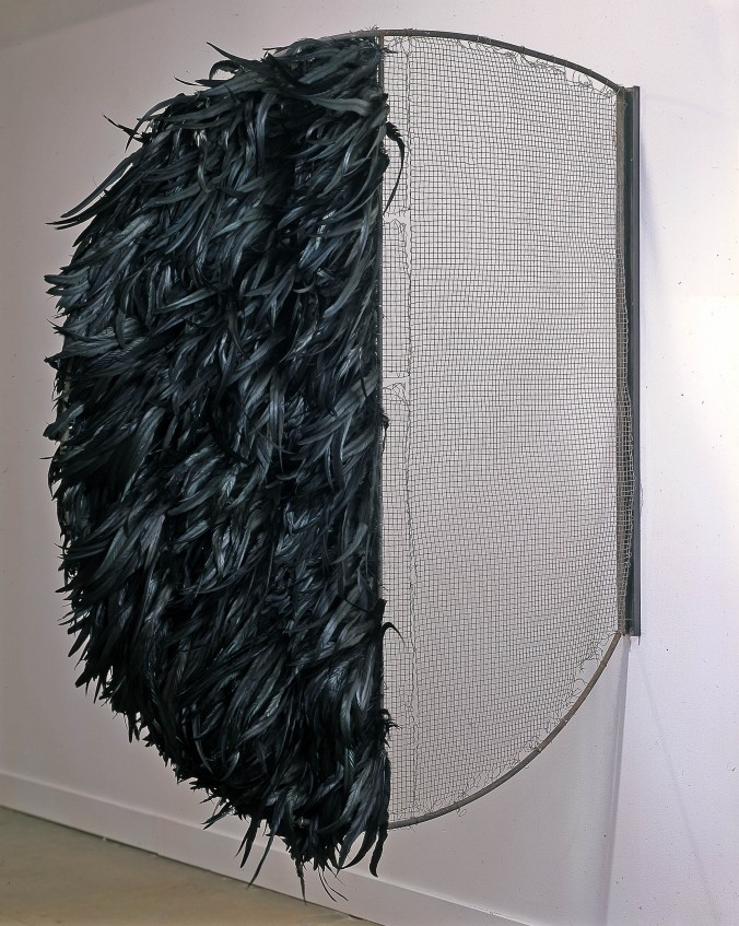 """Terry Adkins, """"Single Bound (from Towering Steep),"""" 2000, steel and rooster feathers. The Blanton Museum of Art, The University of Texas at Austin."""