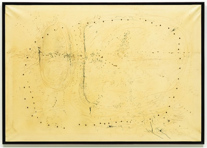 """Lucio Fontana, """"Concetto spaziale 57 CA 3 (Spatial Concept 57 CA 3),"""" 1957. The Museum of Modern Art, New York, gift of Morton G. Neumann, © 2012 Artists Rights Society (ARS), New York / SIAE, Rome."""