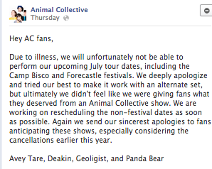 From Animal Collective's Facebook page.