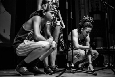 Team Chicago prepares to spit a poem. Photo by Daniel Sawyer Schaefer