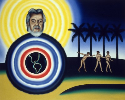 Roger Brown, The Story of Creation, 1989, oil on canvas, 48 x 60 in. © The School of the Art Institute of Chicago and the Brown family.