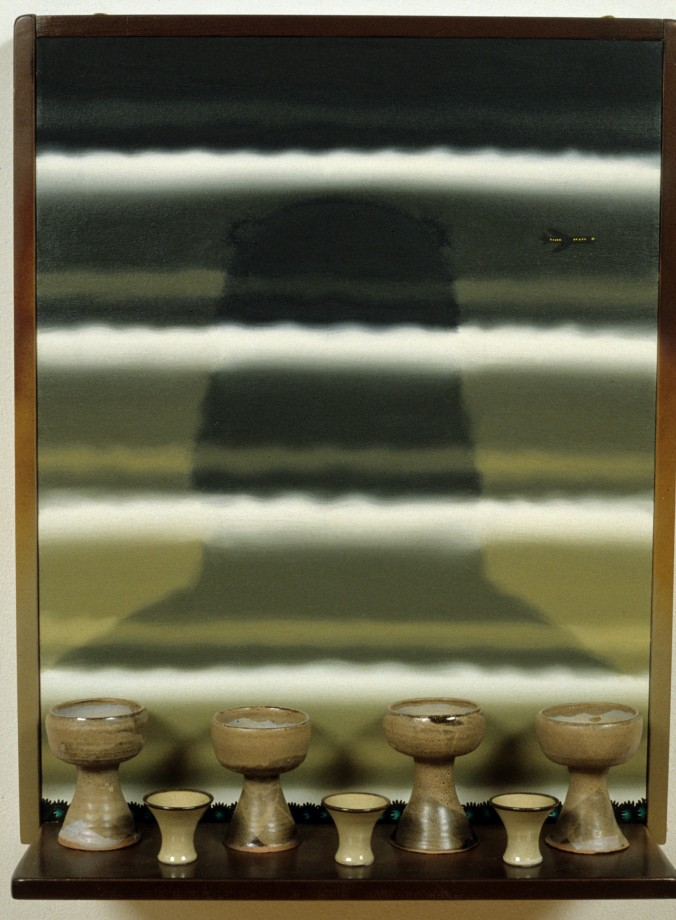 Roger Brown, Virtual Still Life #16: 3 Saki Cups and Four Big Sur Communion Chalices With Oral Roberts Vision Of A Two Mile High Jesus, 1995, oil on canvas and mixed media, 29 ½ x 23 ½ x 9 in. © The School of the Art Institute of Chicago and the Brown family.