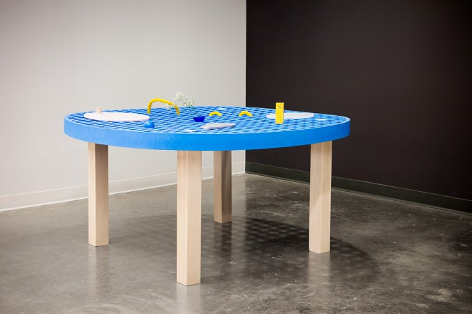"Andrea Chiu, ""Soft Cell,"" 29""x60""x60"" table: crosslinked eva foam, maple accessories: Corian, maple, sponges, found objects"