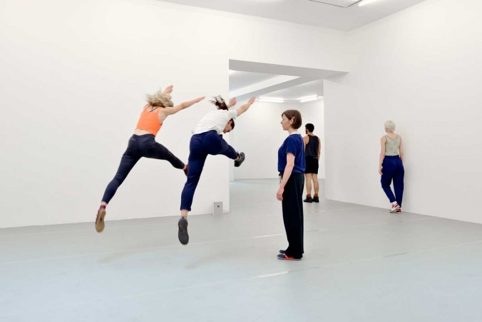 Yvonne Rainer: Dance Works, Raven Row, 2014 Diagonal (part of Terrain), 1963 Dancers in training with Pat Catterson and Yvonne Rainer, July 2014 Photo: Eva Herzog