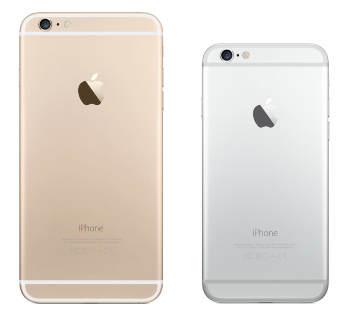 iPhone 6 Plus in gold and iPhone 6 in silver. Image courtesy of apple.com