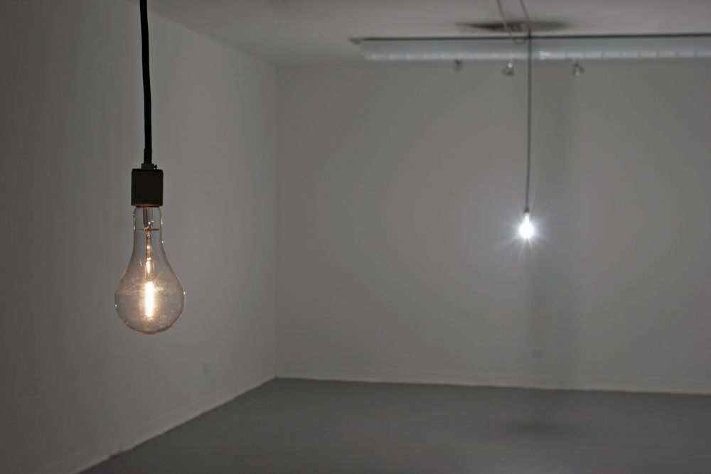 Tobias Zehntner, Untitled (two bulbs), 2013. Incandescent bulbs, cable, microcontroller. Size variable.