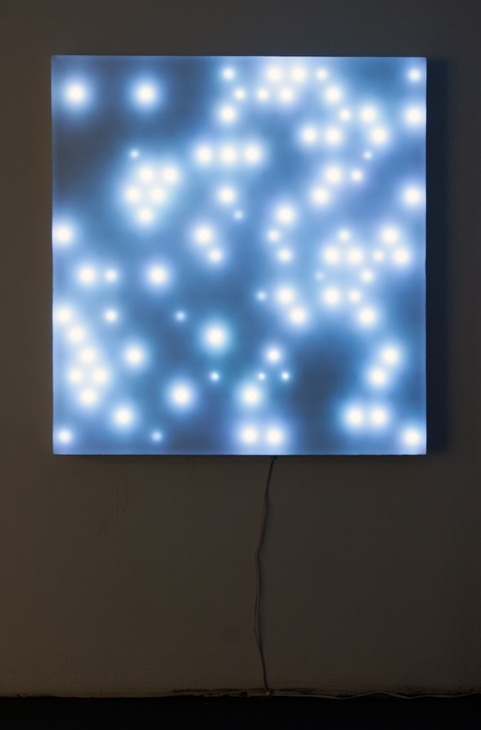 "Tobias Zehntner, Untitled (two panels), 2013. LEDs, microcontroller, wood, fabric, reflective fabric. 45""x48"" each (2)."