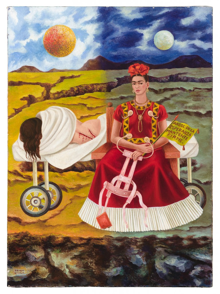 Frida Kahlo, Arbol de la Esperanza (Tree of Hope), 1946. Private Collection, Chicago. © 2014 Banco de México Diego Rivera Frida Kahlo Museums Trust, Mexico, D.F. / Artists Rights Society (ARS), New York. Photo: Nathan Keay, © MCA Chicago