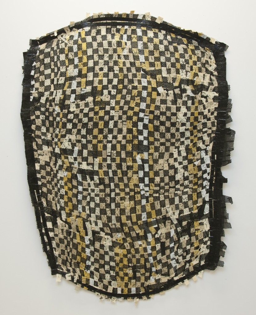 """Threshold no. 2, 2014 Synthetic weaving, plastic, rubber, electrical tape. Heat fused. 58"""" x 42"""""""