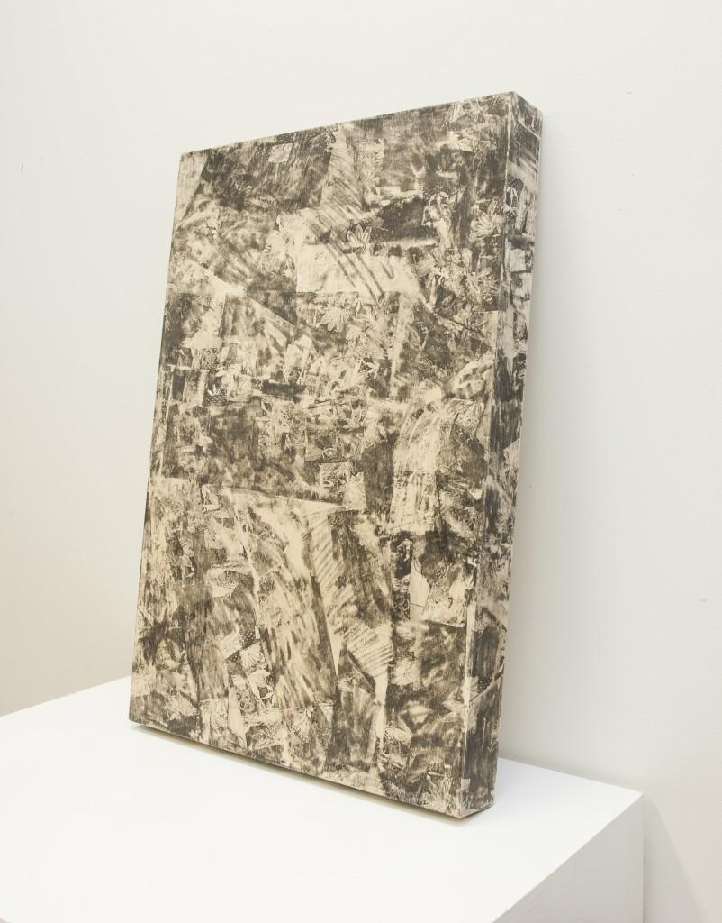 "Untitled, 2014 Toner Transfer on Wood. 23""x34"""
