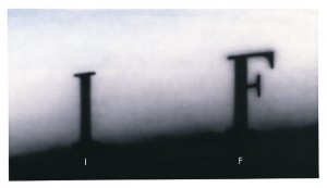 : Ed Ruscha, IF, 1995, acrylic on canvas 40 x 72 inches (left) and The X Files title card (right) | via edruscha.com and Fox