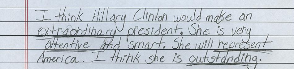 Hillary Clinton 4th grader
