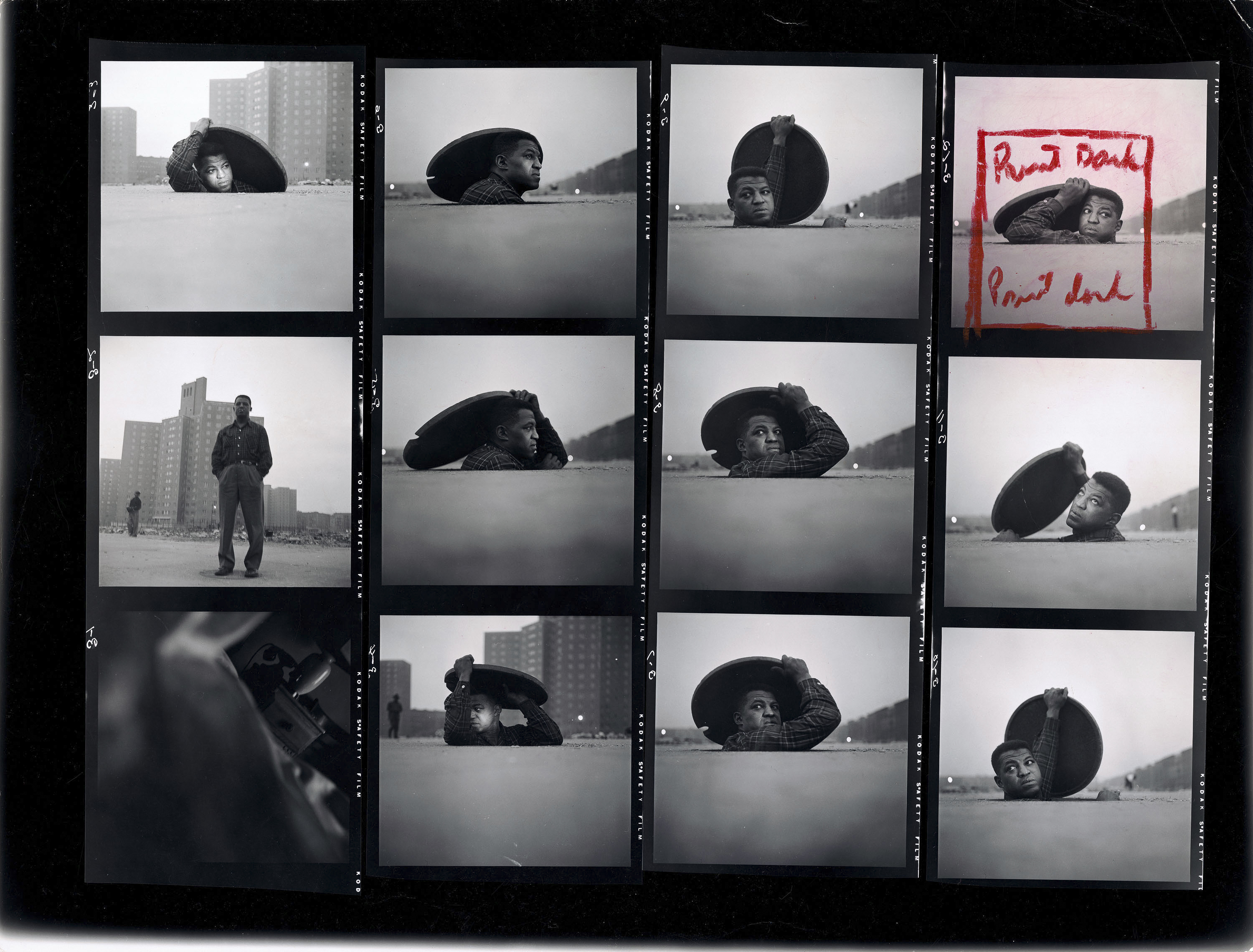 "Preview | Download (2 MB) Gordon Parks. Contact Sheet, ""A Man Becomes Invisible,"" Life story no. 36997, 1952. The Gordon Parks Foundation."