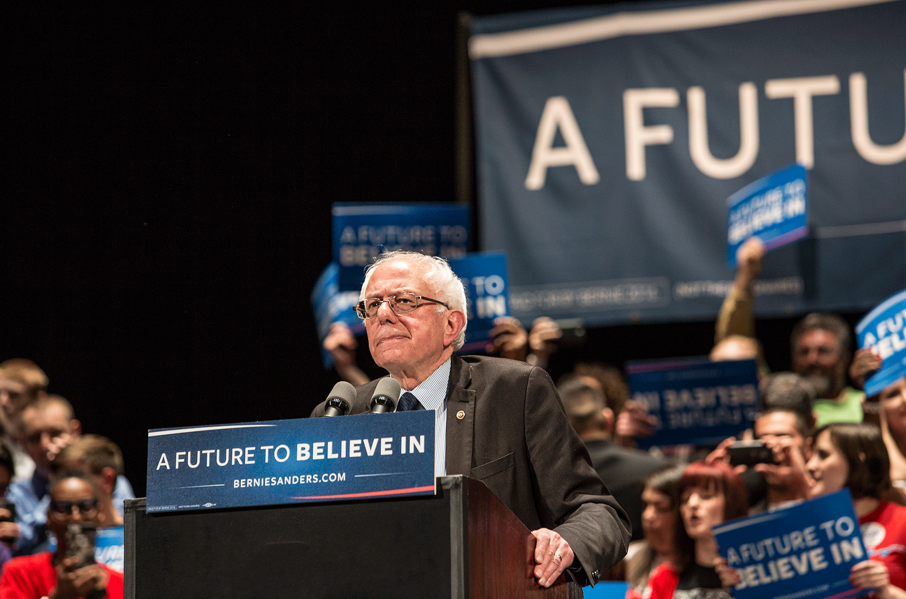 Bernie Sanders addresses a crowd at a Chicago rally in March. Photograph by Cassandra Davis. To view a full photo gallery of the Sanders rally, click here.