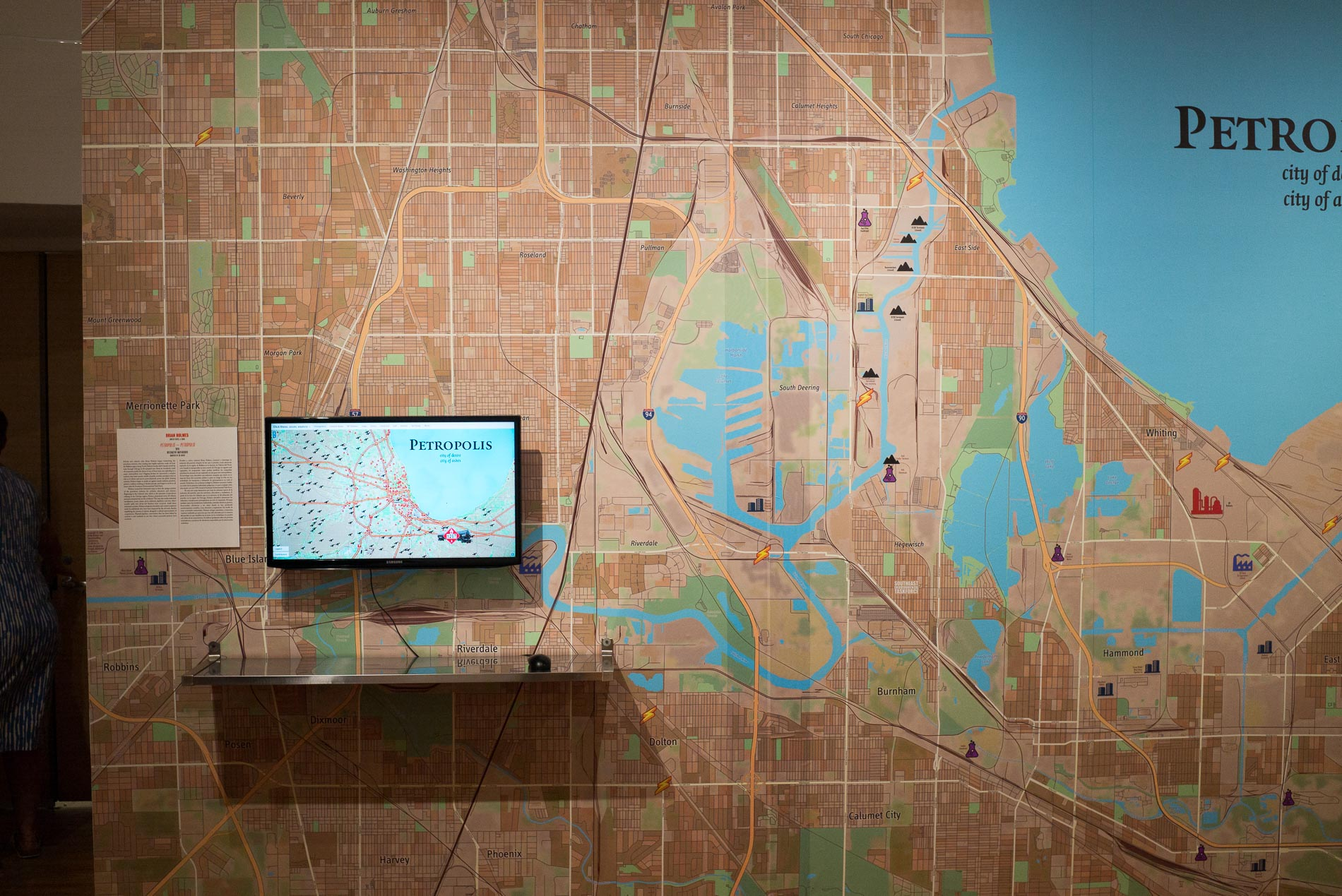 """Brian Holmes' installation """"Petropolis,"""" shows transportation routes for petcoke around the Chicago area. Photograph by Steven Ford."""