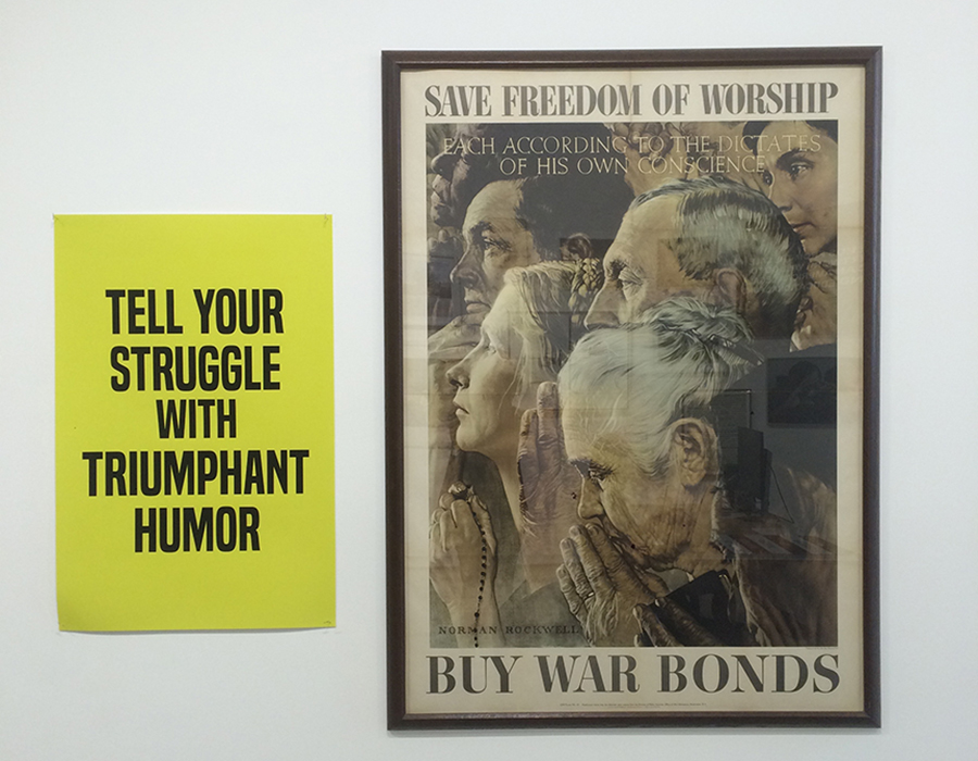 "A poster from Kamelah Janaan Rasheed's series ""How to Suffer Politely (and other Etiquette)"" influences the meaning of Norman Rockwell's iconic ""Four Freedoms."" Photograph by Sandra Giselle Lopez."