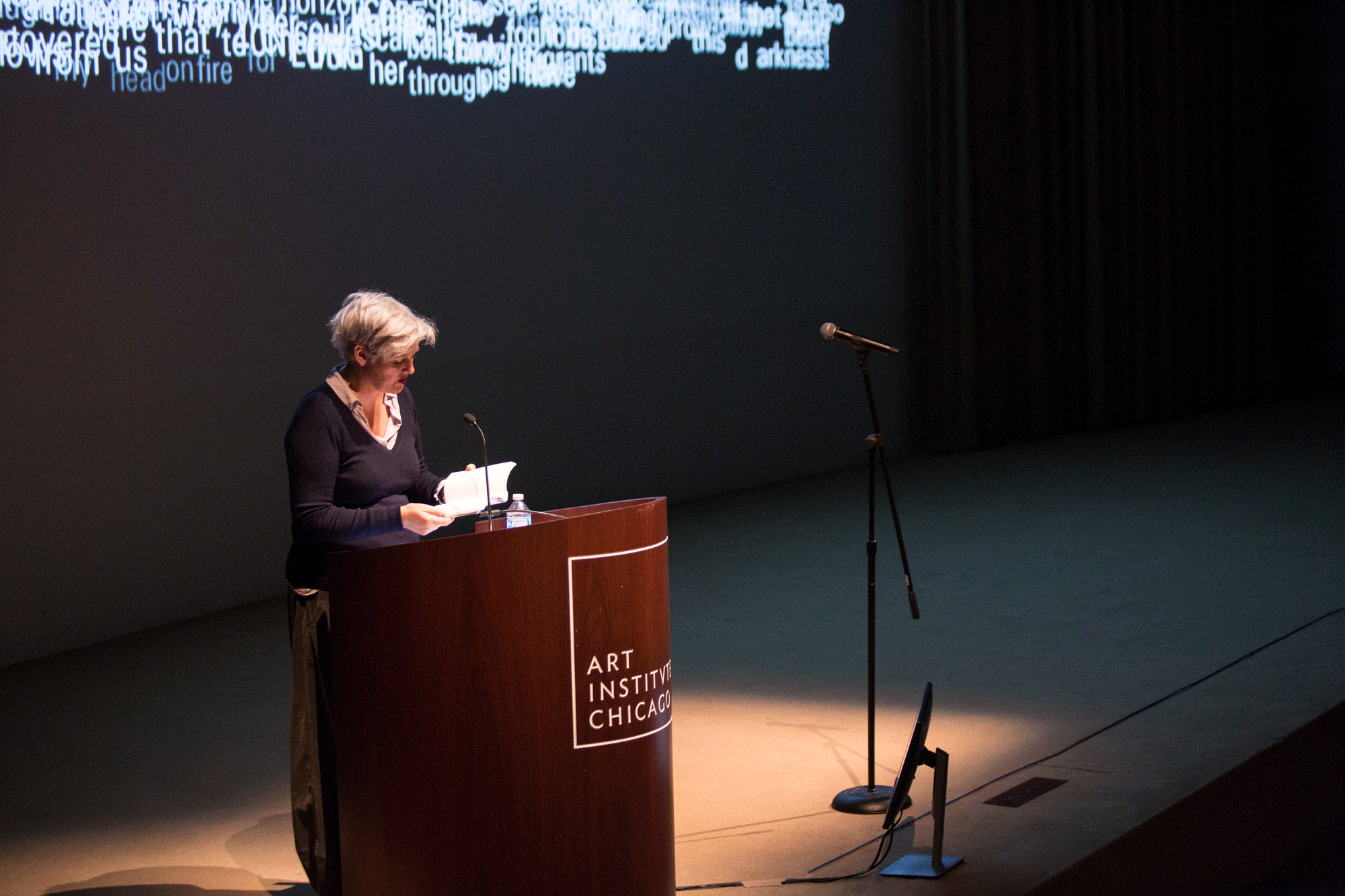 Caroline Bergvall presents at SAIC shortly after the November presidential election. Photograph by Farah Alhaidar. © 2016 School of the Art Institute of Chicago; All Rights Reserved