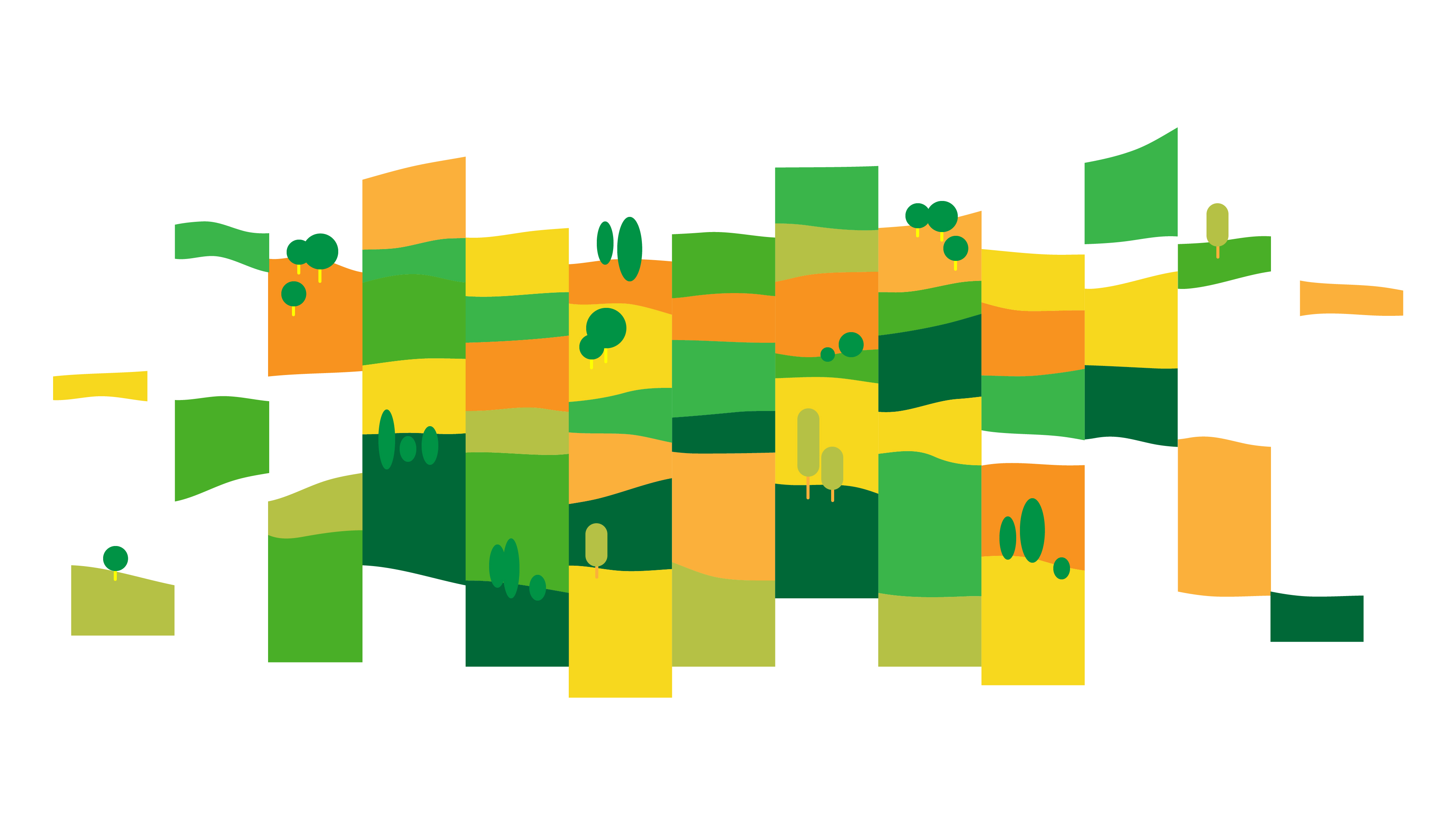 Simple illustration of a colorful landscape, cut up into different fields to represent the division of natural spaces.