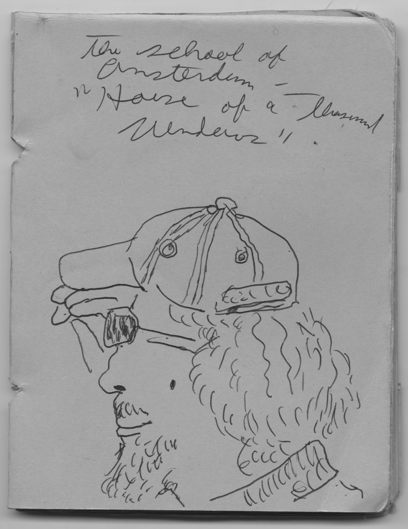 A page from the author's sketchbook, with a ballpoint sketch of her dad, a man with long hair and a beard, wearing a baseball cap.