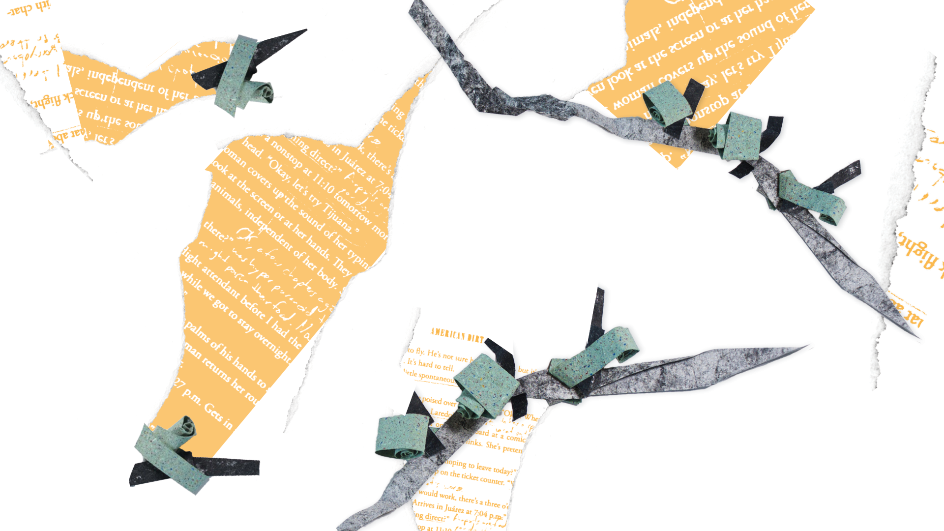 A papercut collage of pages from American Dirt by Jeanine Cummins, abstractly resembling barbed wire. The pages of American Dirt have crossings-out and notes on them, corrections made by the reviewer.