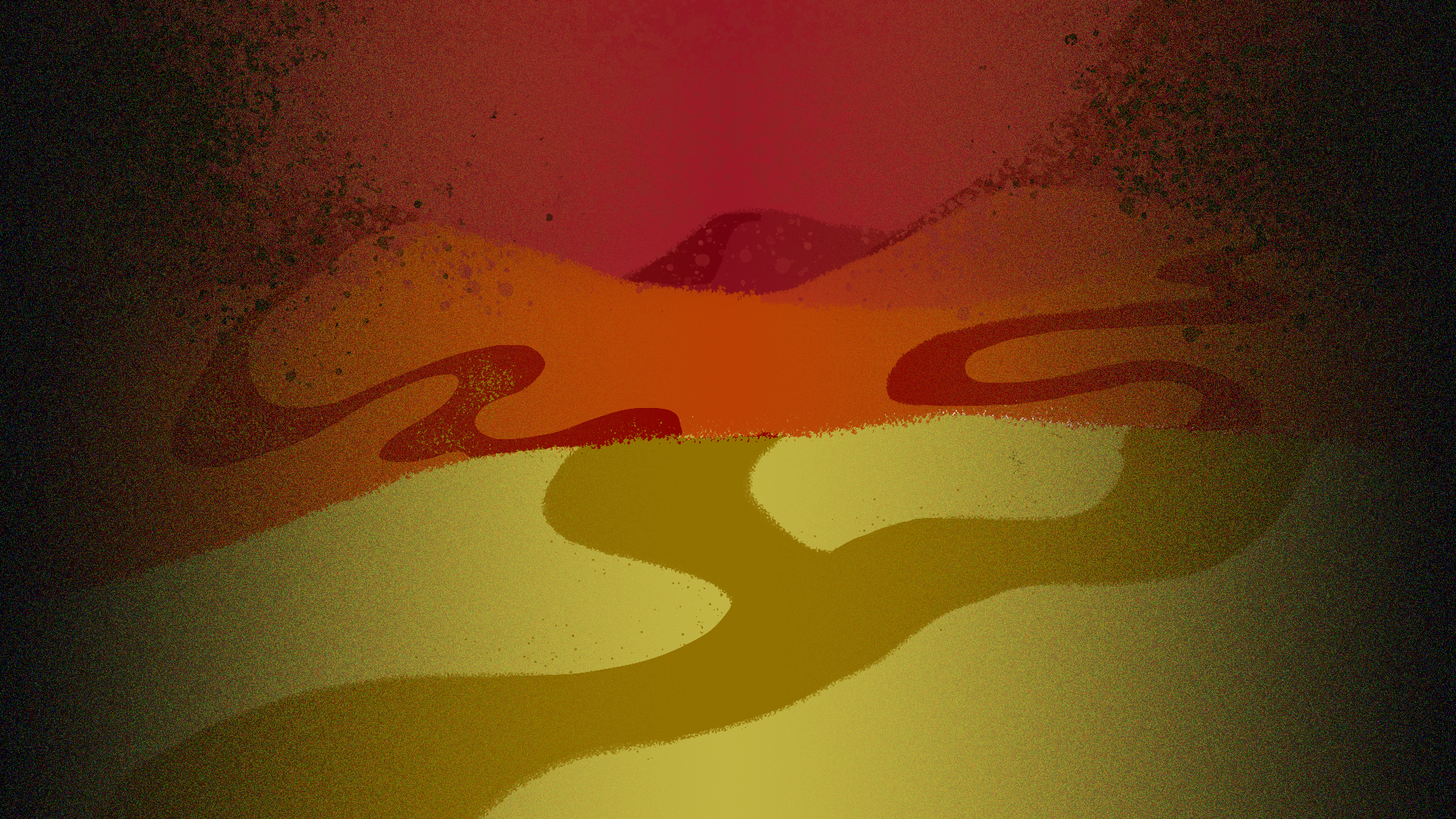 Illustration of a red desert with dunes. In the center a path diverges into a Y intersection.