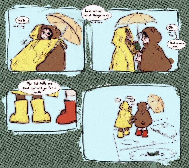 """""""A Very Important List,"""" Frog and Toad inspired comic by Lenny Alves."""