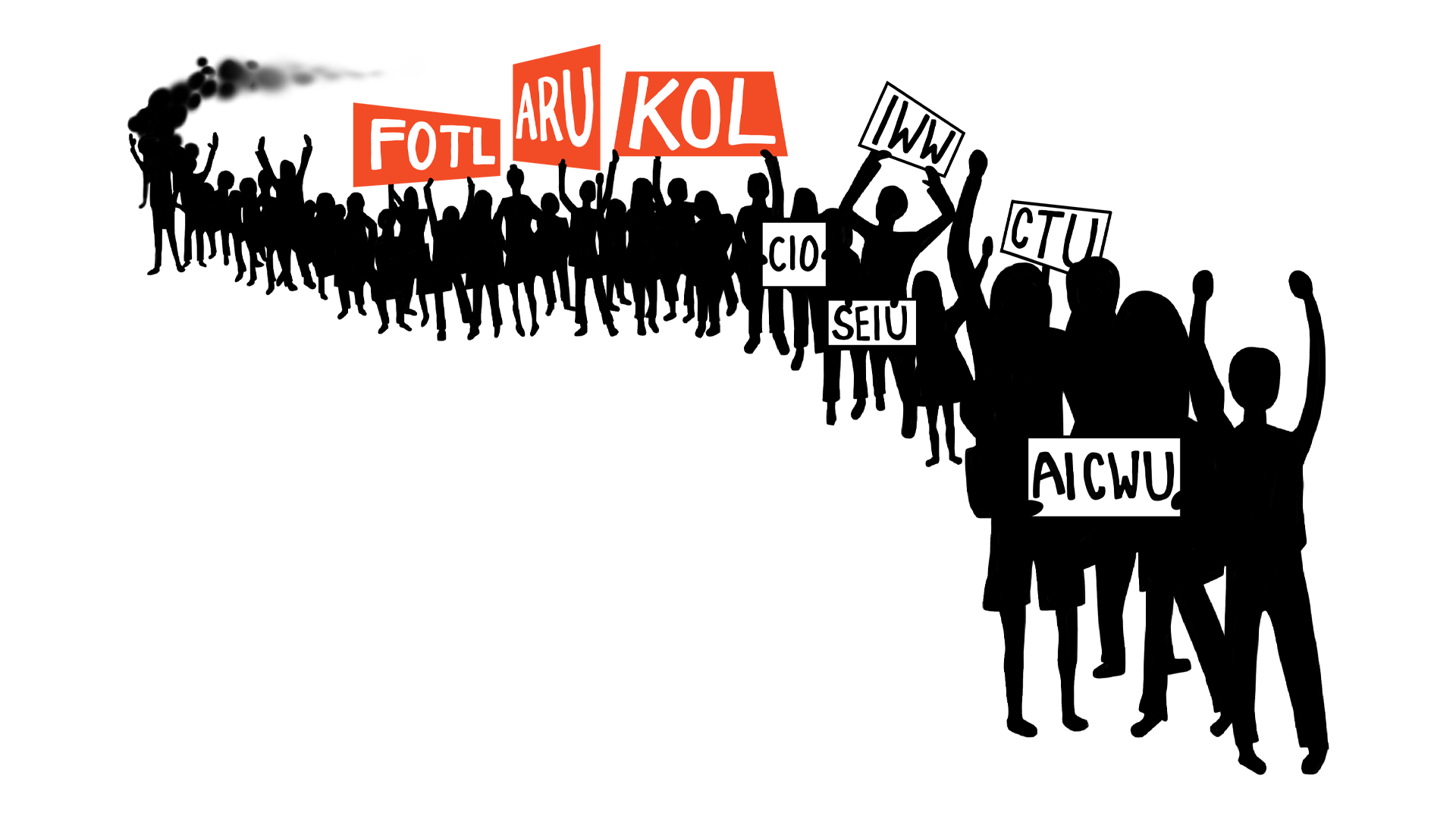 Parade of silhouettes holding signs with union acronyms, from back to front: FOTL, ARU, KOL, IWW, CIO, SEIU, CTU, and AICWU.